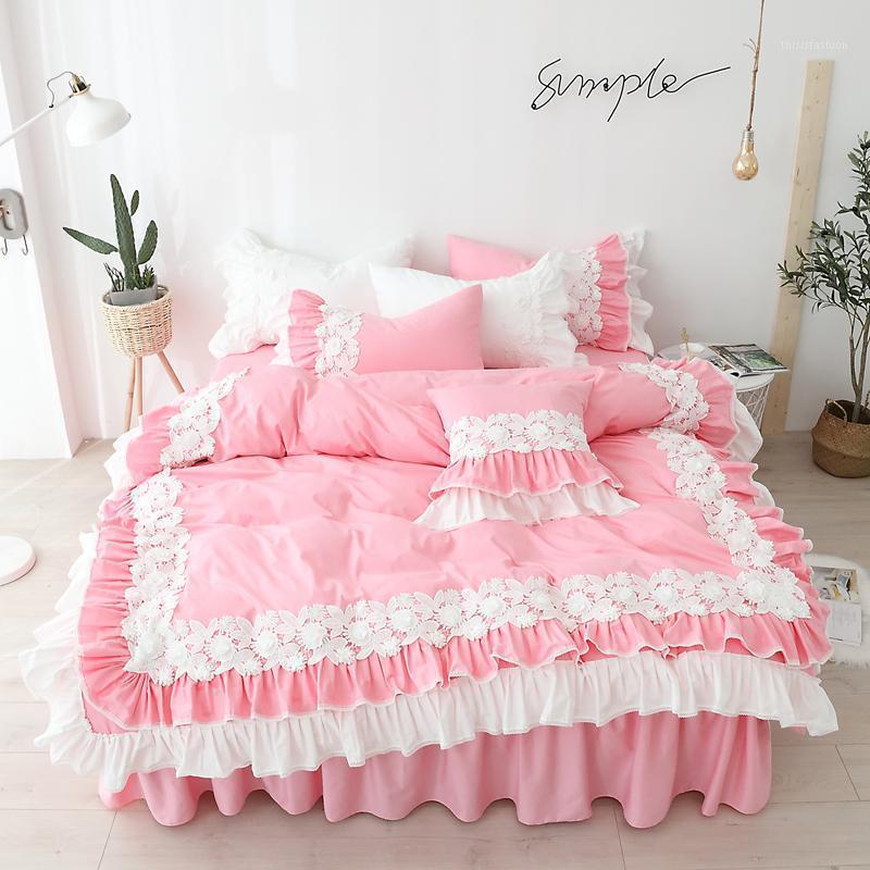 Conjunto de ropa de cama 100% algodón con conjuntos de tapa de cama de color rosa de encaje para niñas reina individual cama king size falda de camisa de camisa de camara de camara de cama