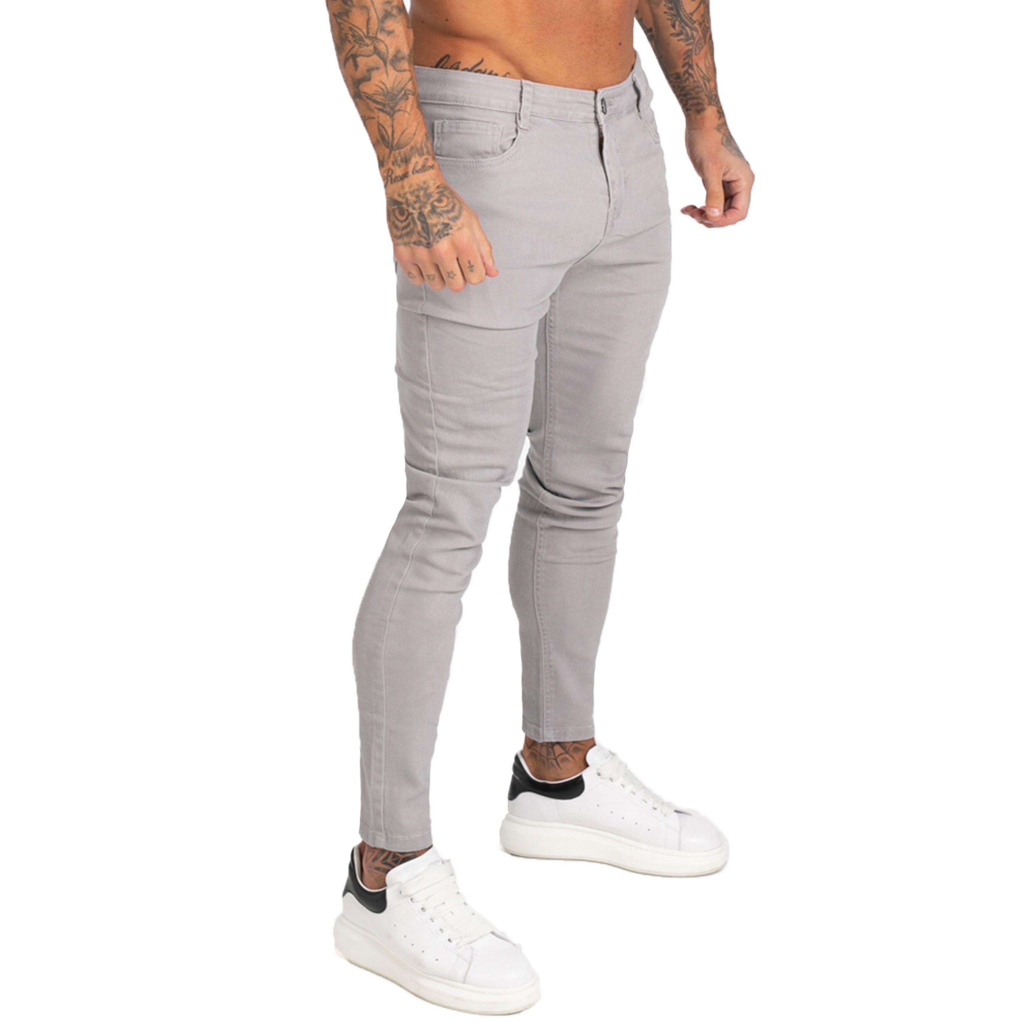 Gingtto Denim Pants Men Skinny Slim Fit Jeans grises para hombres Hip Hop Tobillo apretado Corte de cerca a Cuerpo Gran tamaño Estirar ZM175 C1123