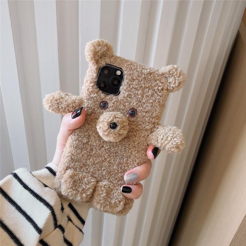 Quente 3D Bear 11 Capa Fluffy para Pro Max X XS XR Telefone 7 8 PlusOfbo