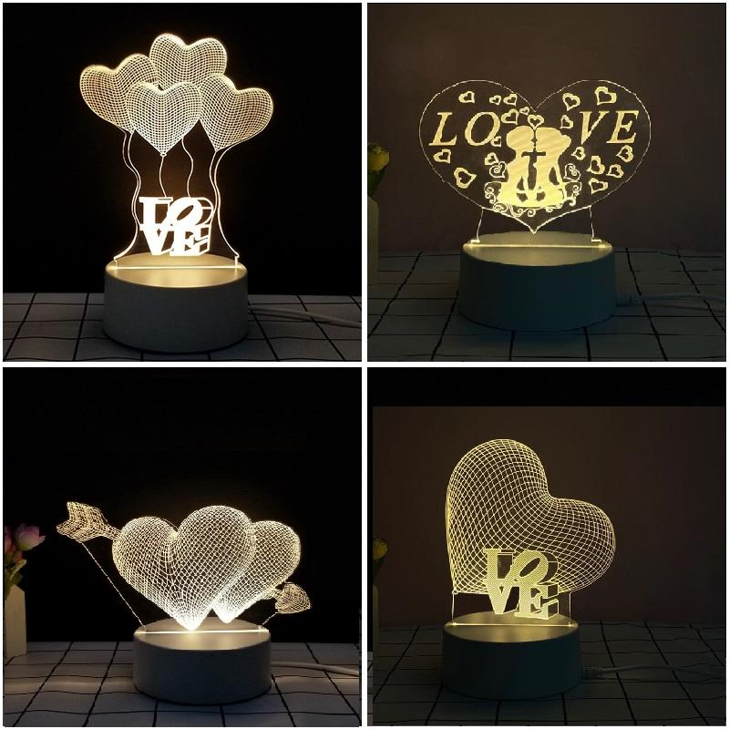 Novelty 3D Night Light Bedside Decor Party Lights LED USB Table Lighting Lamp Luminaria Gifts for Girlfriend Valentine Day