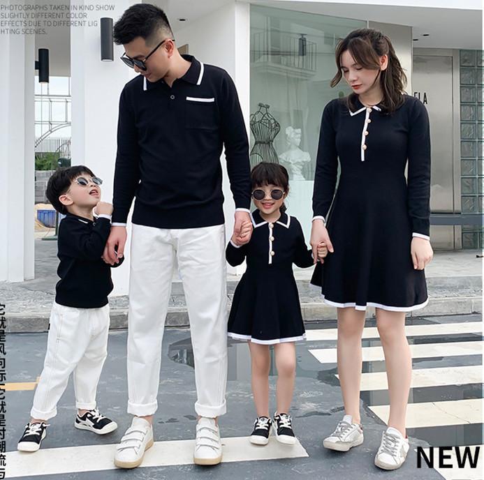 Mutter und Tochter Stricken Kleid Familie passende Outfits Sohn und Mama Hemden Vater Papa und Mini Baby Kleidung Herbst Pullover A5256