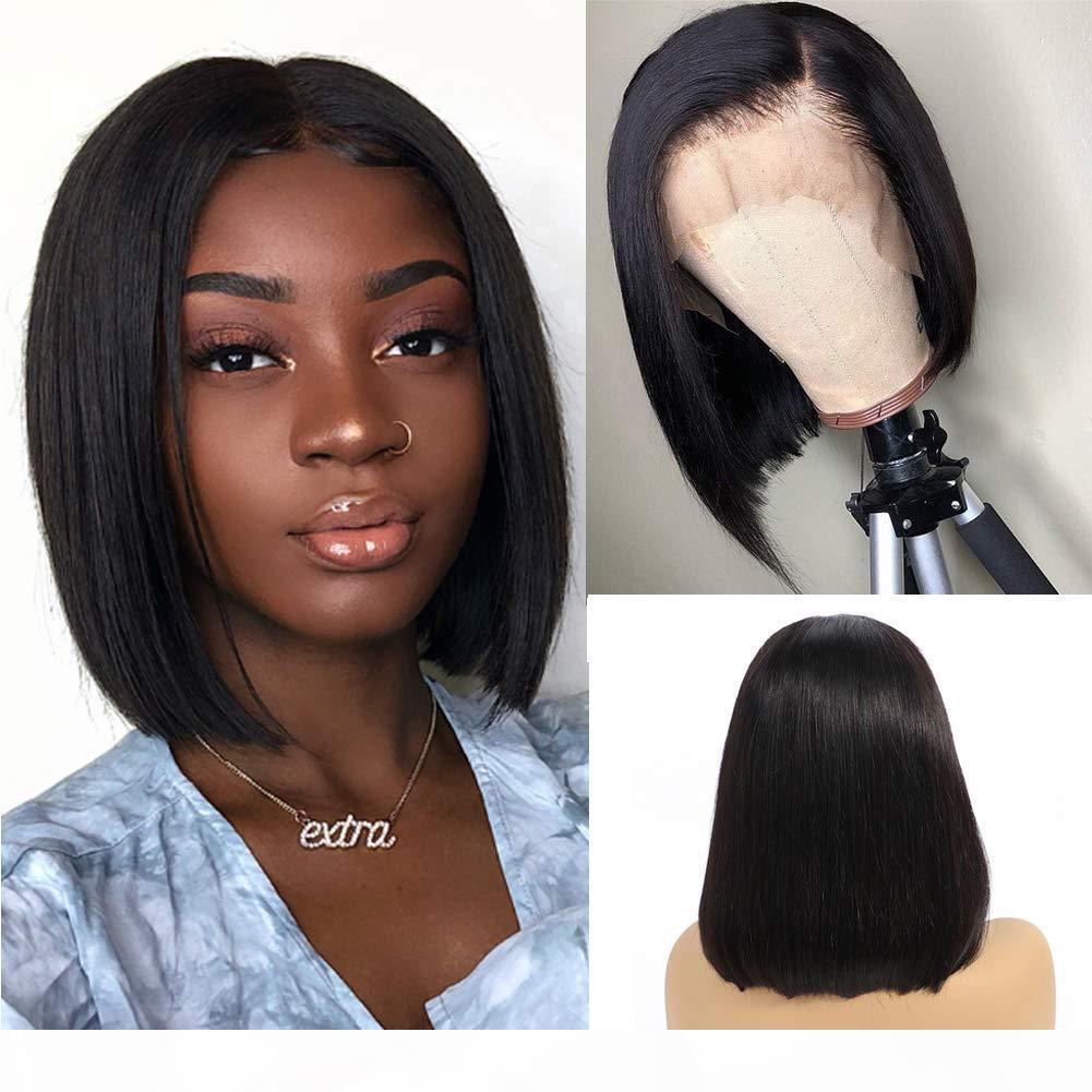 8-16 дюймов 13x6 кружева передние человеческие волосы парики прямые короткие боб парик натуральный черный бразильский реми человеческий волос кружевной парик