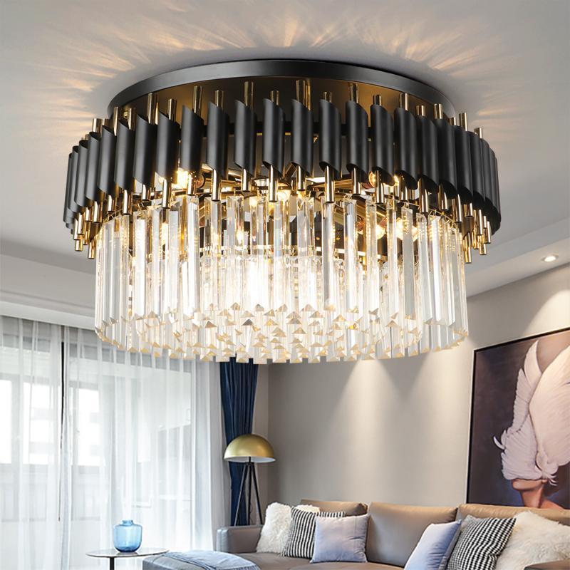 Черный свет круглый кухонный хрустальный потолочный люстр в гостиной спальни украшения внутреннего освещения