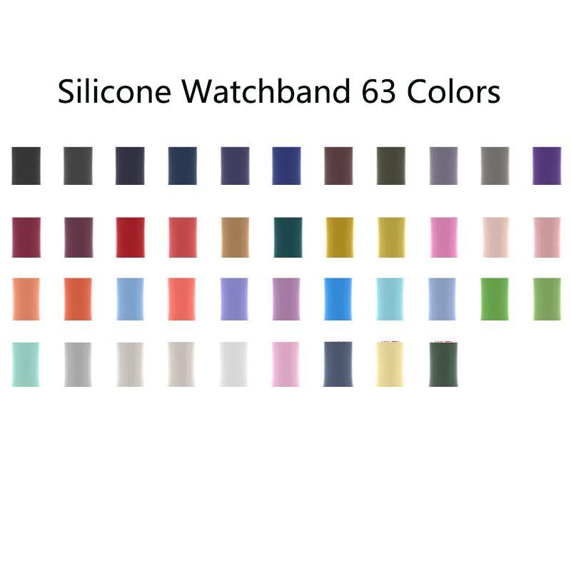 63 Цвета Силиконовые Силиконовые Облюдение Векл Спортивные Облюдения Замена Замена Ремешок Ивача Аксессуары Для Apple Watch Series 6 5 4 3 2