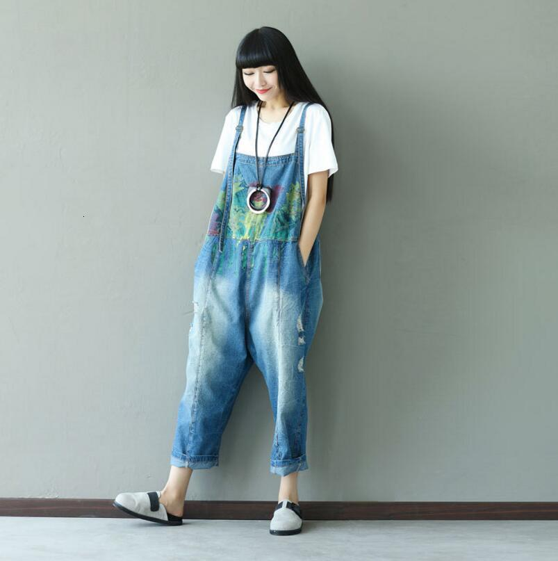 Women of Vintage Copy Denim Breaking Women's Overalls Jeans Suspend Loose Underpants Female Casual Jumpsuits P523 6khu