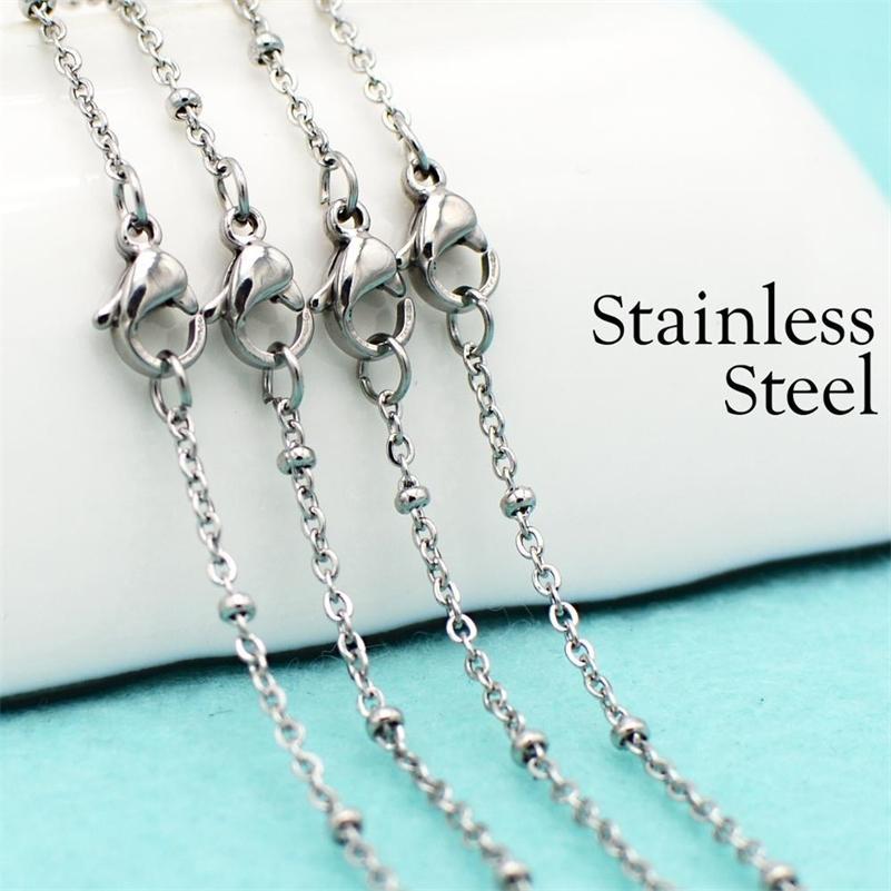50 pezzi - Collana satellitare, collana a catena in acciaio inox, catena della stazione a sfera delicata neovogue per le donne per la creazione di gioielli 201218