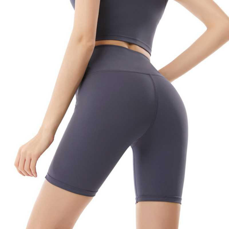 Nylon double face Nude Nu de cinq points Pantalons de yoga Femme Sports Hip Sports Sports Street Stretch Fitness Pantalon
