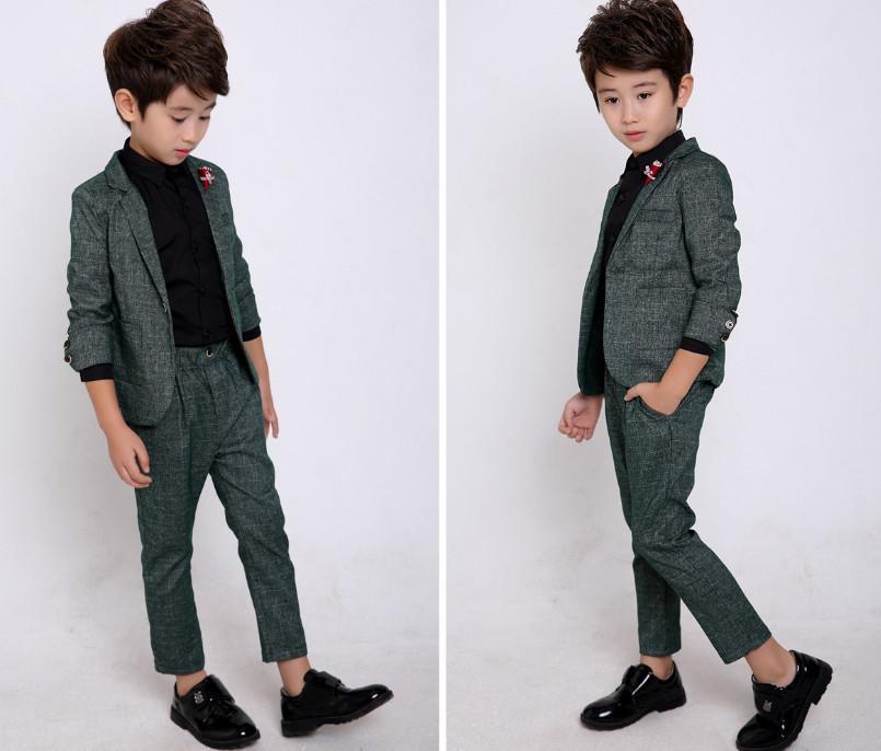 Çocuk Beyefendi Kıyafetler Erkek Performans Giyim Seti Çocuk Yaka Uzun Kollu Blazers Dış Giyim + Elastik Bel Pantolon 2 Adet Suits V252