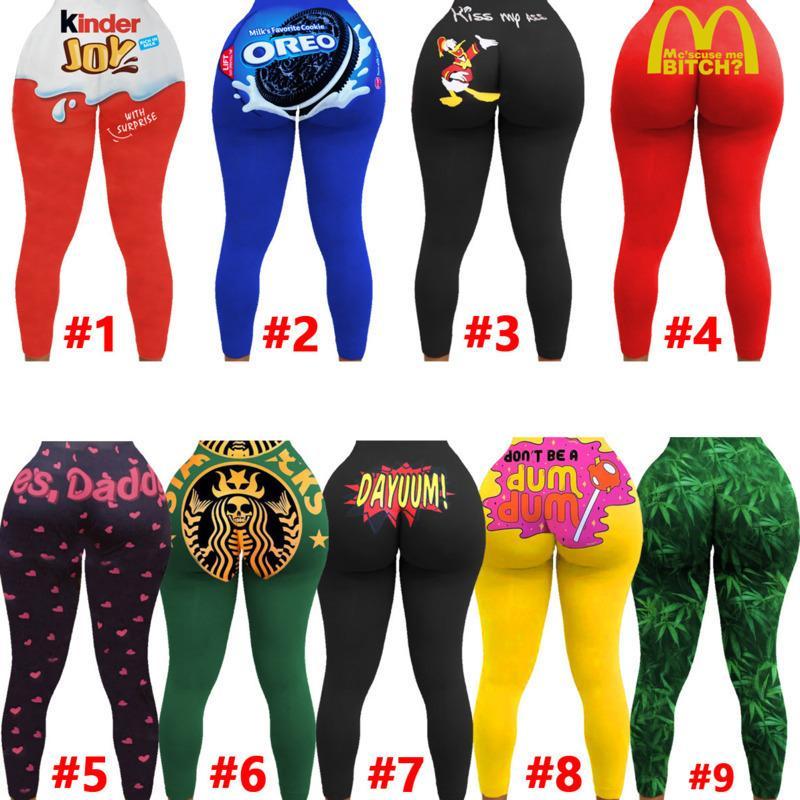 Tayt Şeker Renk Kalem Bayan Pantolon Seksi kadın Tasarımcısı Ince Mektuplar Desen Baskılı Yoga Pantolon Bayanlar Moda Sıkı Pantolon C06