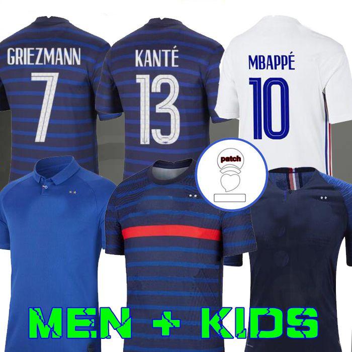 رجل + أطفال 2020 Grizmann Mbappe Soccer Jersey Kante 2018 مئوية بوجبا لكرة القدم قميص Mailleot de Football فرنسا زيدان Giroud Matuidi