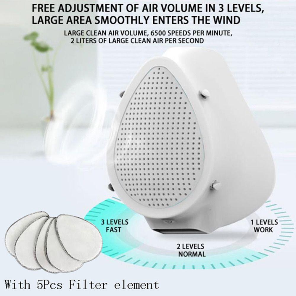 Máscara 1set Mascarilla eléctrica Purificación Anti KF94 Mascarilla protectora de polvo de aire Filtro eléctrico Air PUR IRU0IRU0 8BHR