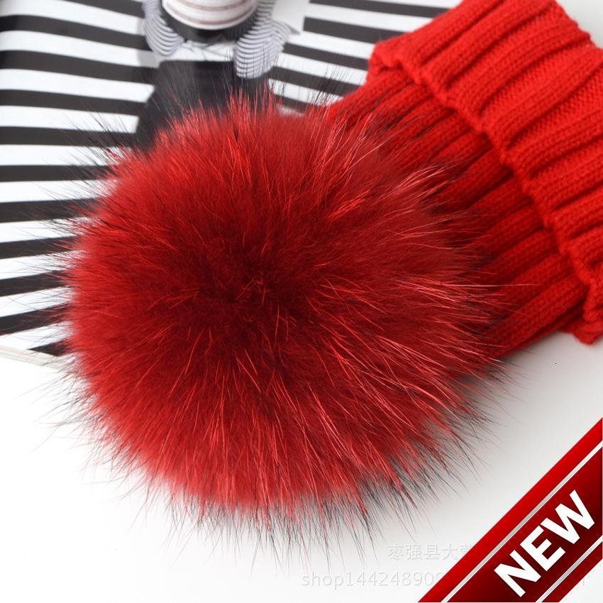 가을과 겨울 새로운 양모 15cm 컬러 너구리 개 머리 공 여성의 두꺼운 모피 모자 gi1r
