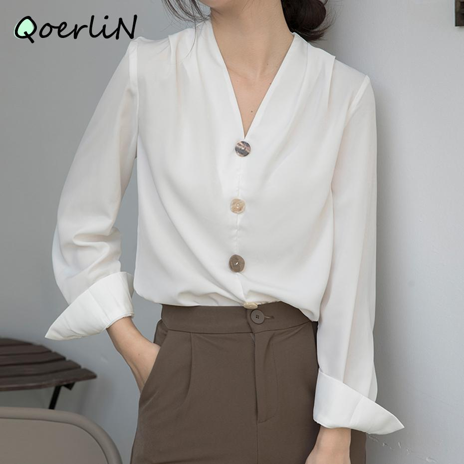Yüksek Kaliteli Bluz Bayanlar OL 2020 Yeni Sonbahar V Yaka Gömlek Kadın Chic Ofis Gömlek Bayan 2020 Beyaz Bluz Artı Boyutu F1211 Tops