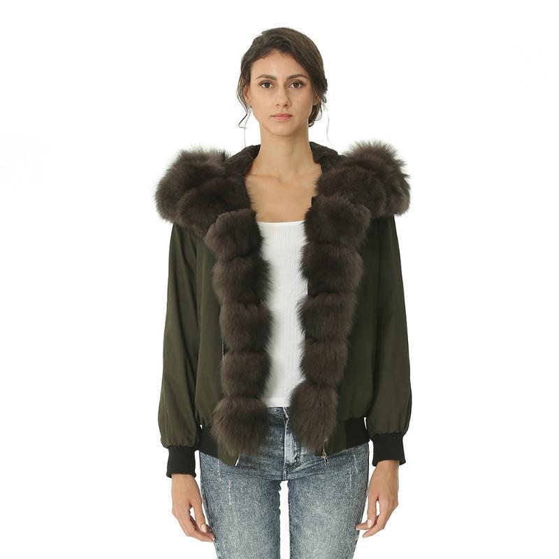Piel de mujer Faux Winter Parka Chaqueta Bomber Mujeres Real Parkas Femme Abrigo con capucha Furry Warm Ropa Mujer 2021 Llegada