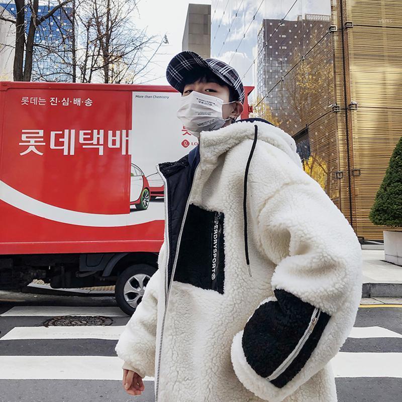 Boutique Зима 2020 Новый Ягнят Шерсть с капюшоном Контрастное пальто Молодежная Зимняя Мужская Свободная и Универсальная хлопковая мягкая пиджака1