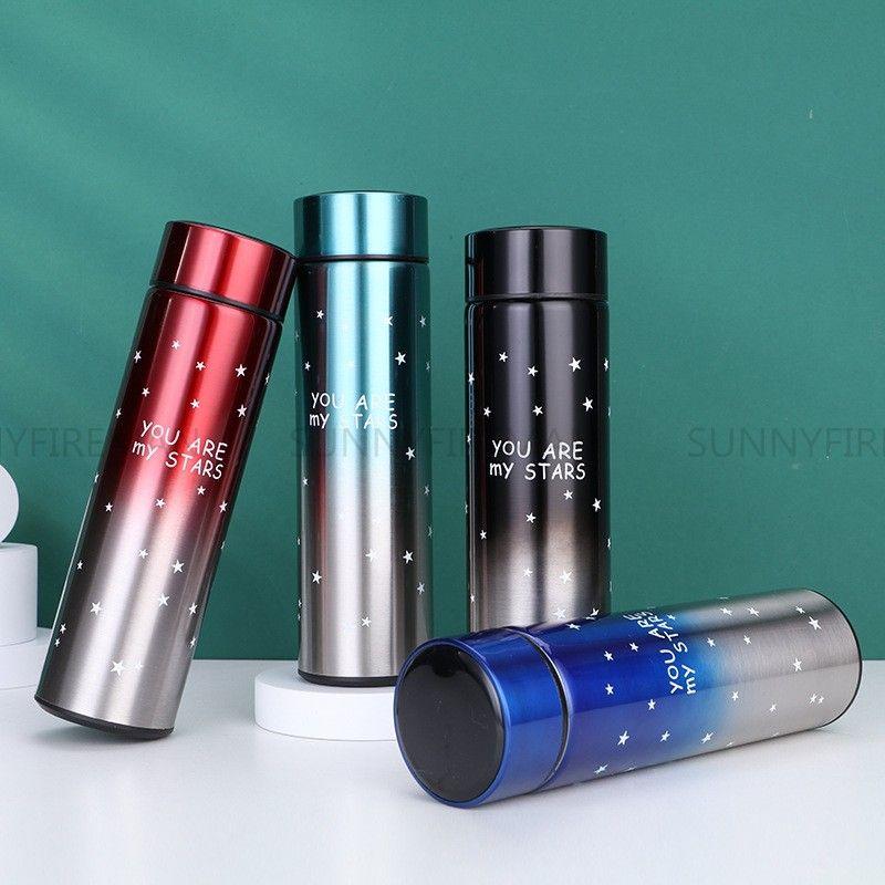 Garrafa térmica inteligente 17oz / 500ml flasks de vácuo conduzido digital digital exibição de temperatura isolamento de aço inoxidável caneca Copos inteligentes garrafa