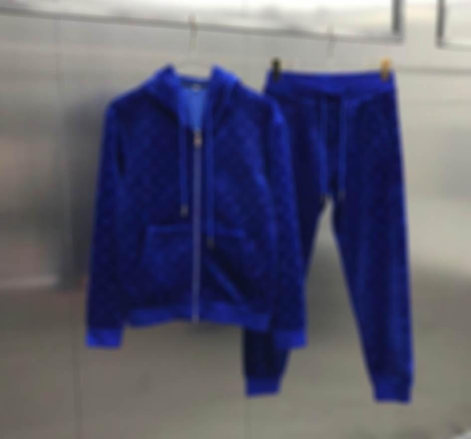 2020 French Herbst Winter Mode Samt Brief Luxus Trainingsanzug Herren Designer Hochwertiger Windjacke Atmungsaktiver Reißverschluss Schwarz