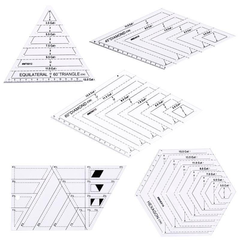5 ШТ. / Установка Разбитая Швейная пэчворк Ремесло Шкала Линейка Треугольник DIY Handmade Affor Affor Home Tools Q39B