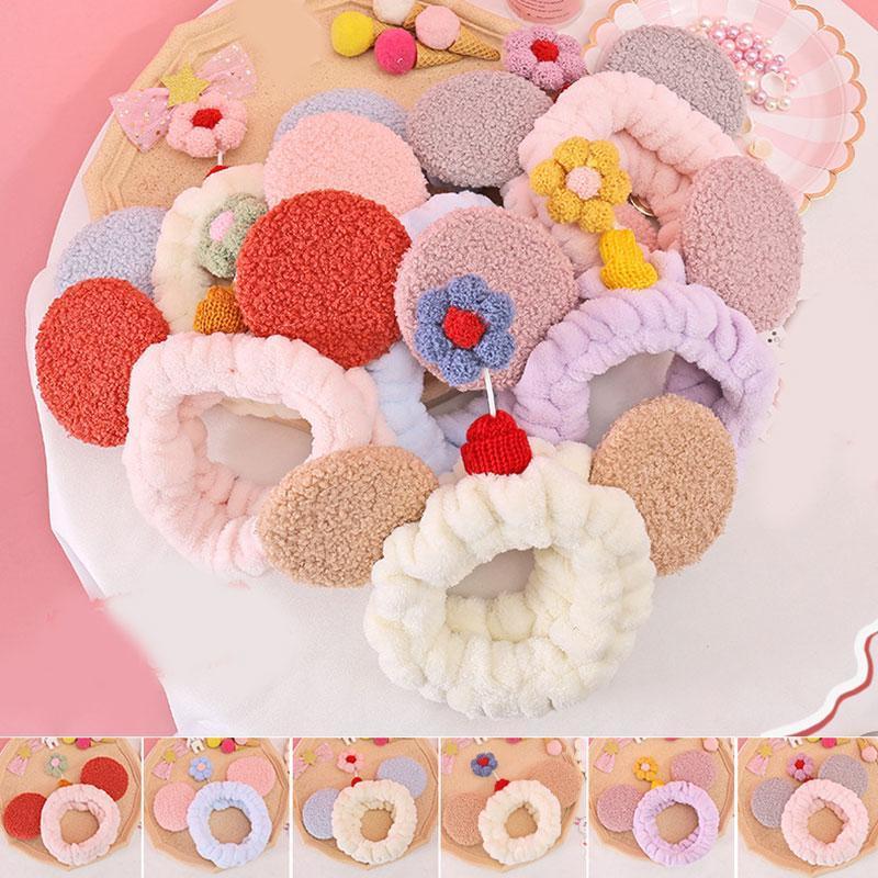 Netter Bär Ohr Blume Plüsch Stirnband Make-up Haarband Einfache Anti-Rutsch-Wash Gesicht Haarschmuck Elastische Einfache weiche Haar-Band