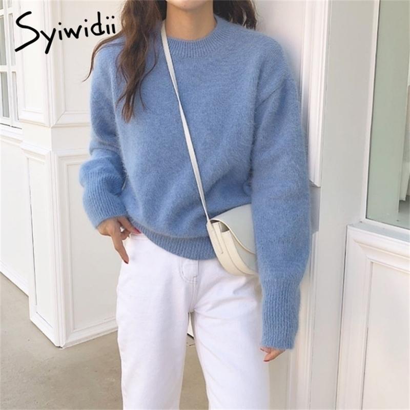 Syiwidii Kazak Kadınlar Sonbahar Yumuşak Sıcak Kazaklar Kore Üst Kış Giysileri Katı Rahat Yeşil Pembe Mavi Japon Moda 201221