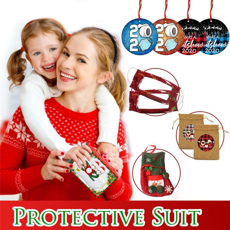 Рождественские украшения защитный костюм 1pack = 1box = круглый круг Рождественский орнамент * 4 + подарок конфеты сумки * 2 + маска для лица * 2 + чулки * 1 E111704