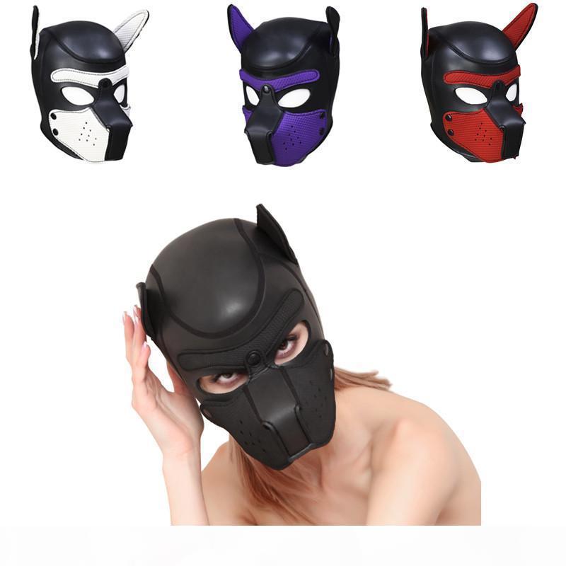 High Quality Sexy Girls Women Cosplay Props Puppy Mask Role Playing SM Sex Lady Rubber Helmet Soft Latex Dog Mask New