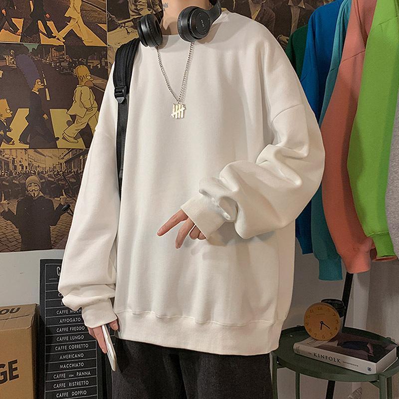 Harajuku الرجال هوديس الصلبة بسيطة بلوزات باردة الخريف عارضة س الرقبة طويلة الأكمام فضفاض البلوفرات الأزياء الرجال سوياتشيرتس
