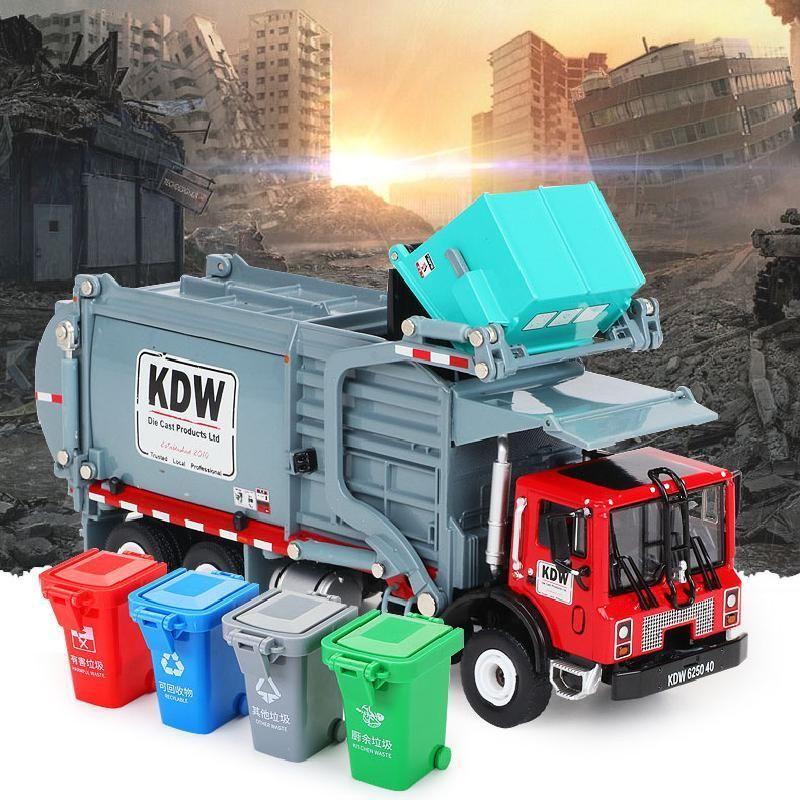 Сплавовые материалы Обработка грузовика Мусорная уборка автомобиля Модель 1:24 Мусоровоз санитарные грузовики чистые автомобиль игрушечный автомобиль ребенок подарок X0102