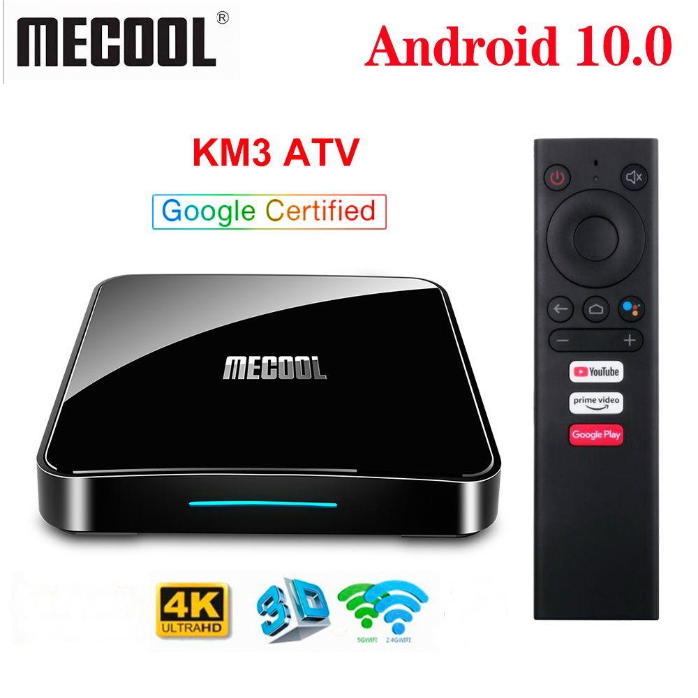KM3 ATV AndroidTV Boîte de télévision Android 10 4G / 64G Amlogic S905X2 Contrôle vocal 2.4 / 5G WIFI 4K Google Certified Media Player