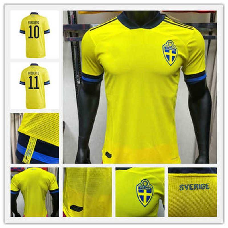 Spieler Version 2020 Schweden Soccer Jersey # 7 Larssson # 9 Berg Ibrahimovic Uniform Herren # 11 Guidetti Johnsson Football Shirt
