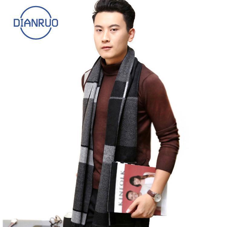 DiIonruo Männer Schal Herbst Winter Vintage Weiche graue Plaid Schal Herren Nachahmung Kaschmir Markengeschäft Beiläufige Schals N643