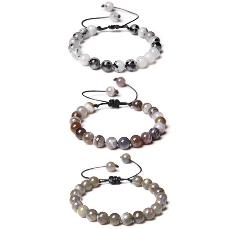Naturel Botswana Agat Bracelets pour couple Vintage Fils Réglable Bracelet Femmes Pierre Blanc Perles Pulsera Noir Rope Bangle