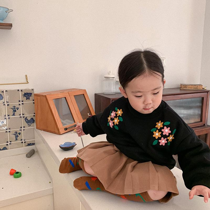 Novo 2020 Inverno Roupas Nova Versão Coreana Meninos e Meninas Flor Bordado Camisola Crianças Peluche Y1126