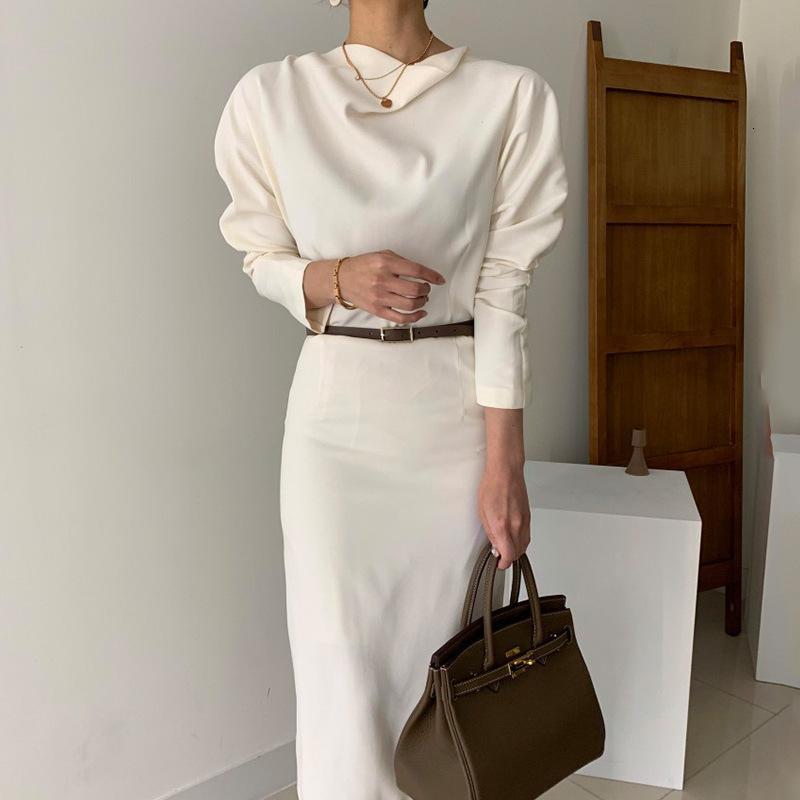 2021 Yeni Fantezi Stil kadın Katı Boyun Puf Kollu İmparatorluğu Bel Sarılmış Kurdela Ofis Bayan Elbise Orta Bahar Uzun DA7L
