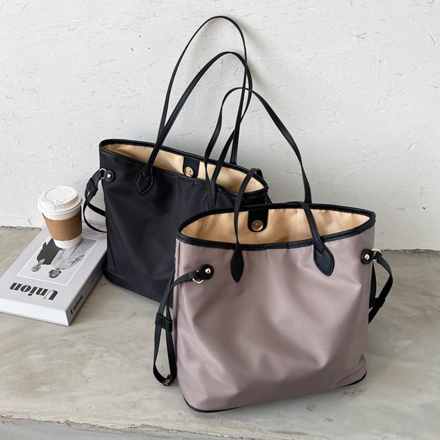 Large Capacity Nylon Shopper Bags for Women Shoulder Bag Fashion Solid Color Tote Bags Casual Big Composite Women's Bag 2020 New C0308