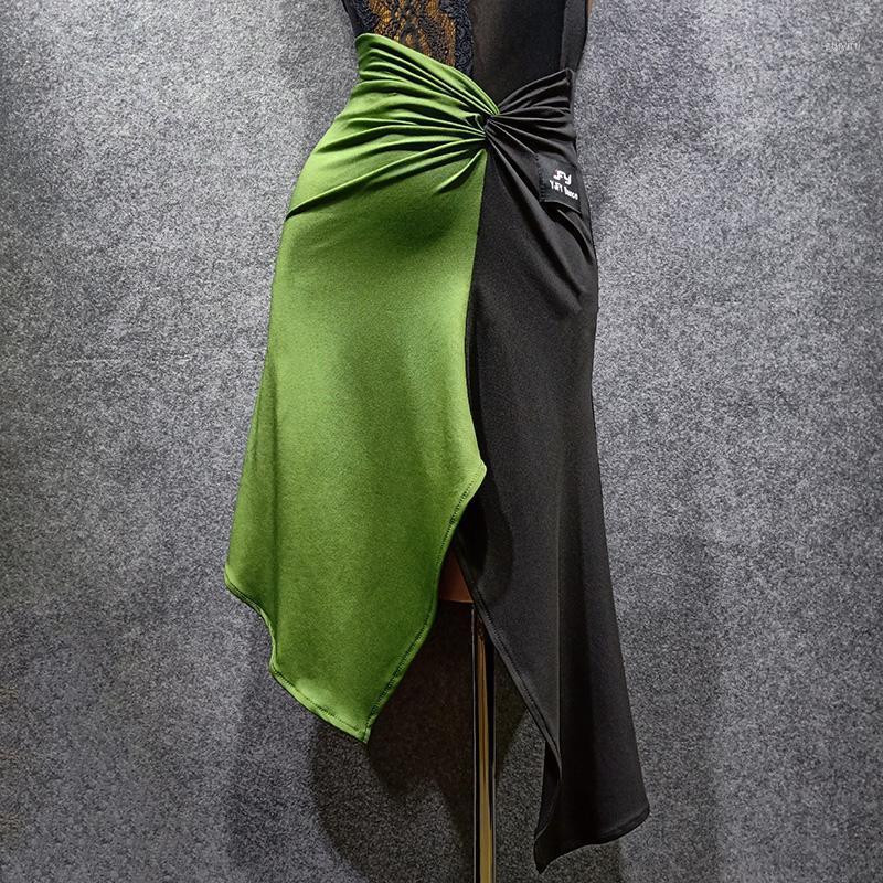 Sahne Giyim Latin Dans Etek Kadın Yeşil + Siyah Uygulama Performans Yarışması Elbise Kıyafet VDB13581