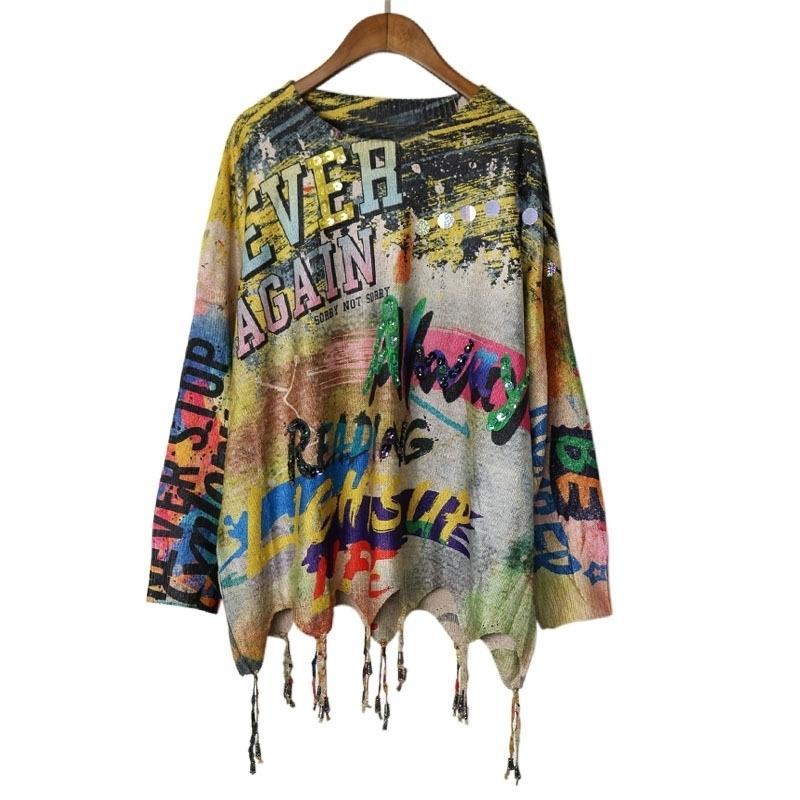 Gold Print Harajuku Plus Size Knit Sweater Women Sequined Long Sleeve Graffiti Vintage Plus Size Korean Jumper Autumn LT843S30 201017