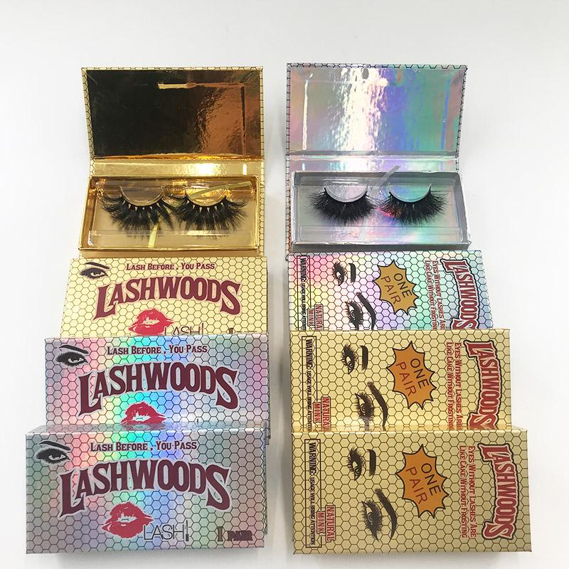 Caja de paquete de pestañas brillantes de las pestañas con una dramática dramática de 25 mm Pestañas de visón 3D Vendedor de pestañas de tira completa Cajas personalizadas