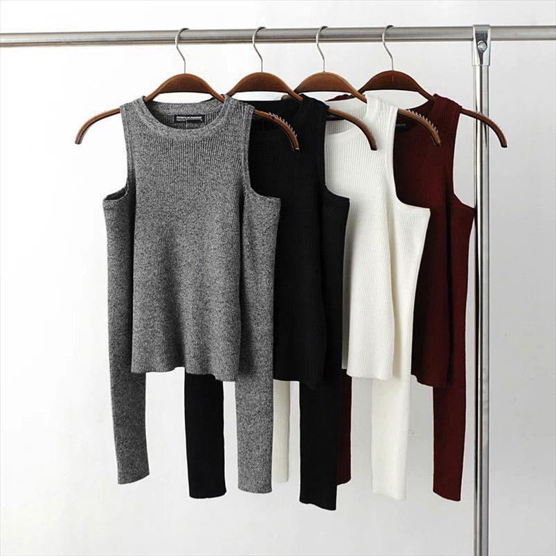 Sexy Basic Mulheres Pullover Blusas Feminino Elástico Malha Camisola Mulheres Off Ombro Tops Cropped Pull Femme Suéter curto 2021