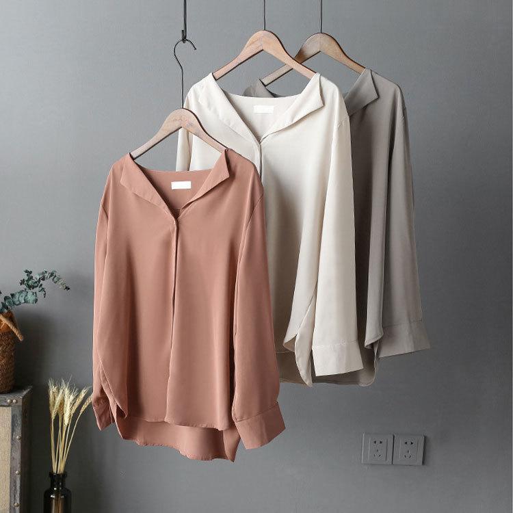 2021 NUEVO Sherhure Blusas MUJER Moda Autumn Tops Color Pure Bluse Women Camisas largas Blusas con blanco v decont H470