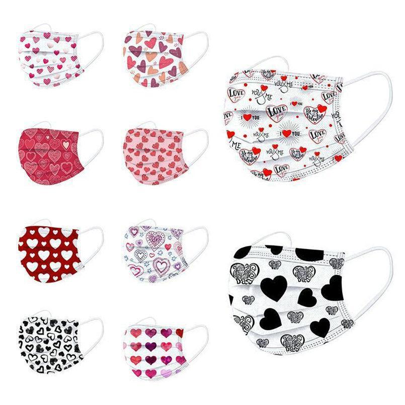 2021 Día de San Valentín Día Desechable Mascaras Mujeres Diseñador Mascarilla Cara Adulto Anti-polvo Máscaras de algodón de la boca Favor de la fiesta FY0131