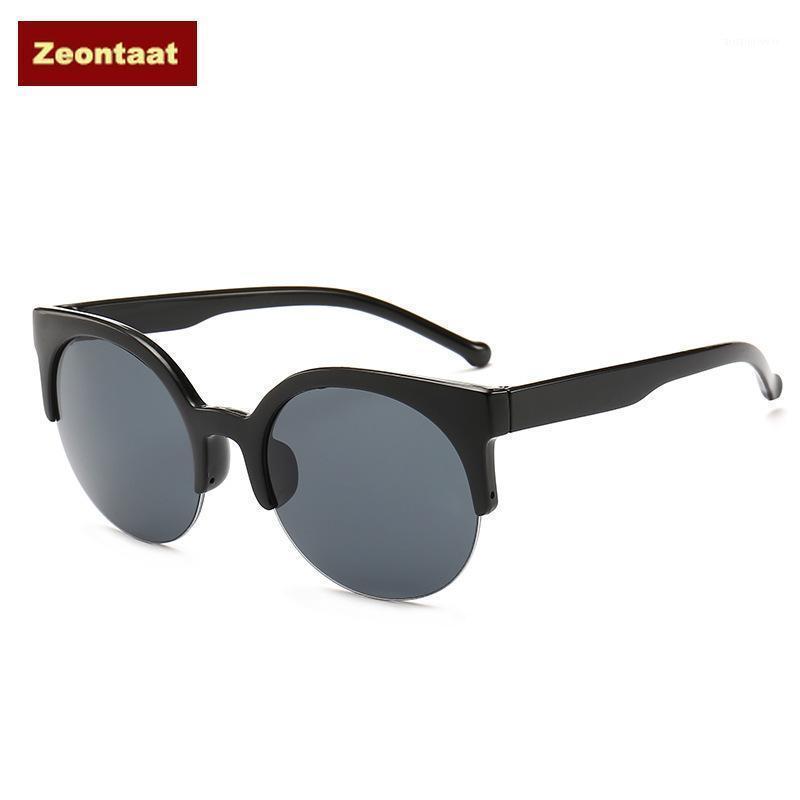 Fashion Cat Eye Sunglasses Women Retro Vintage Half Frame Eyewear Brand Designer Round Circle Semi-Rimless Glasses Oculos1