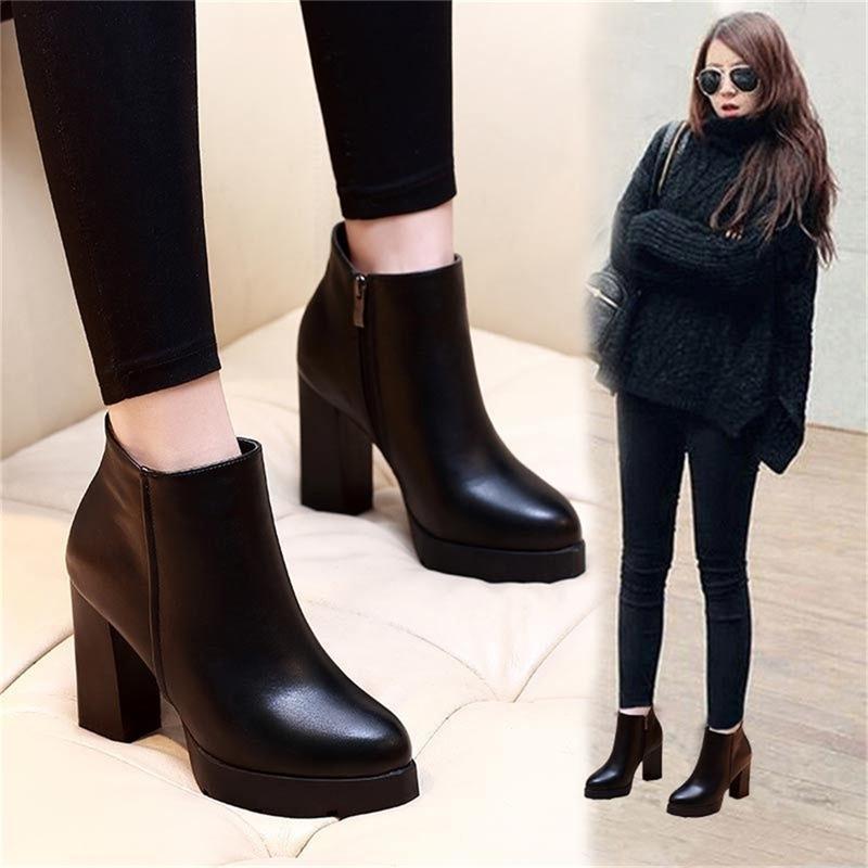 Dropshipping Frauen Knöchelstiefel 2020 Echtes Leder Martin Black Frauen High Heels Boots-Plattform Sexy Damen Stiefel Schuhe Y200723