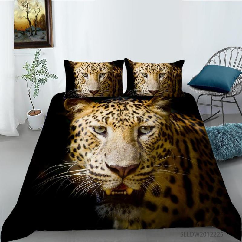 Установки постельных принадлежностей 2021 3D набор гепард печатает одеяло чехол нажиточные постели с наволочной кроватью кровать дома текстиль
