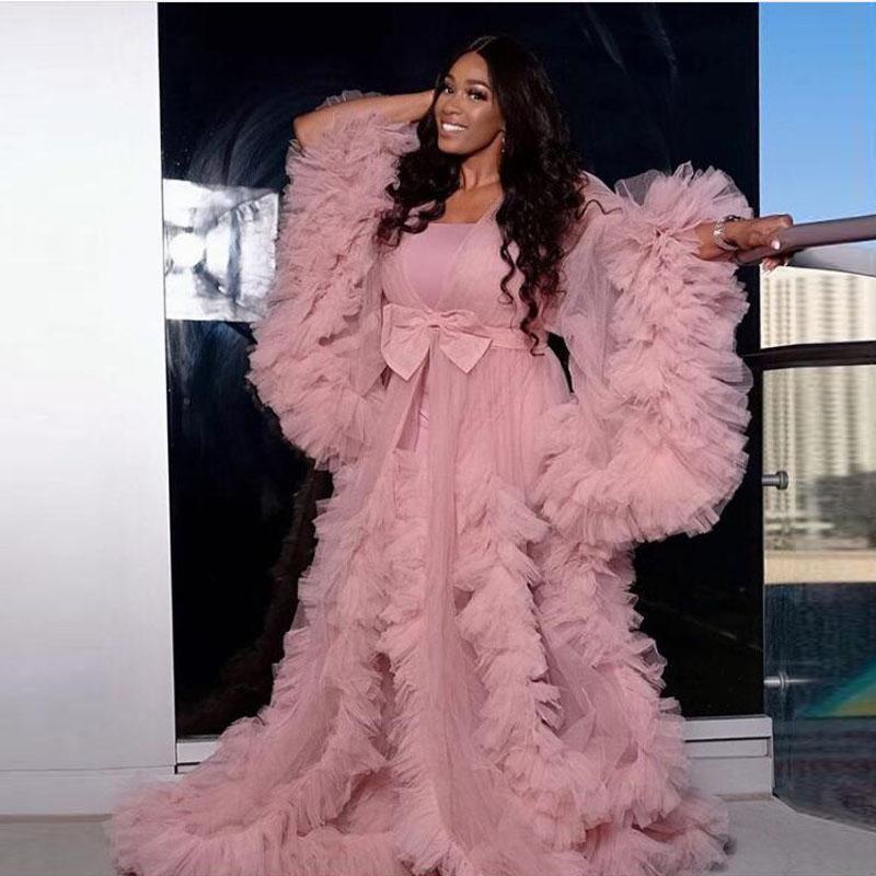 Розовые иллюзионные оборманы Tulle с длинным рукавом женские куртки зима сексуальная беременная вечеринка пиджака халат оруми