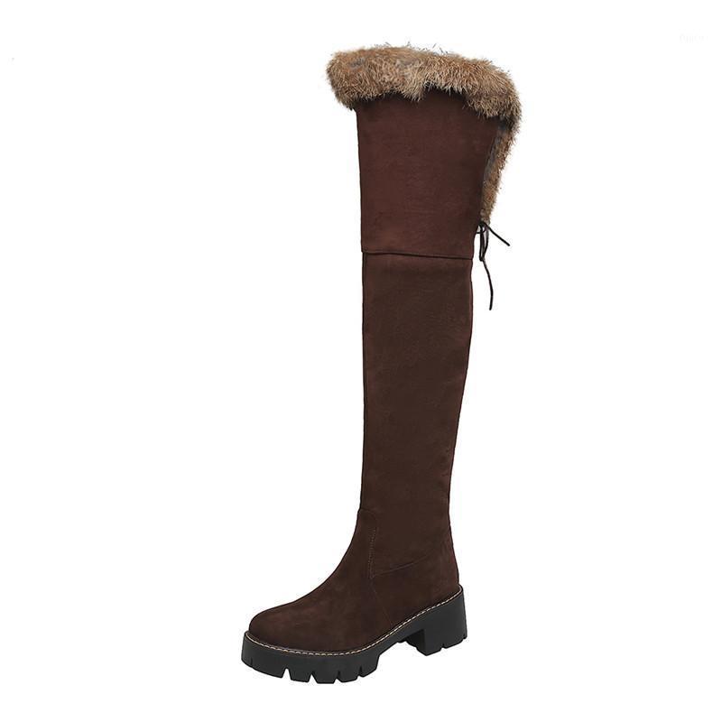 Botas de neve de pelúcia de pelúcia quente botas de neve sapatos novos 2020 camurça inverno de inverno alta botas preto marrom longo sobre o joelho mulher1