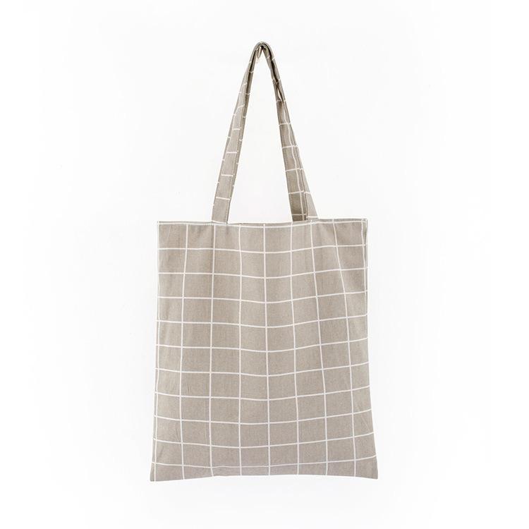 Новые женские клетки белья хлопчатобумажная сумка женское холст сумки сумки на плечо экологически чистые сумки для хранения экологически чистые сумки