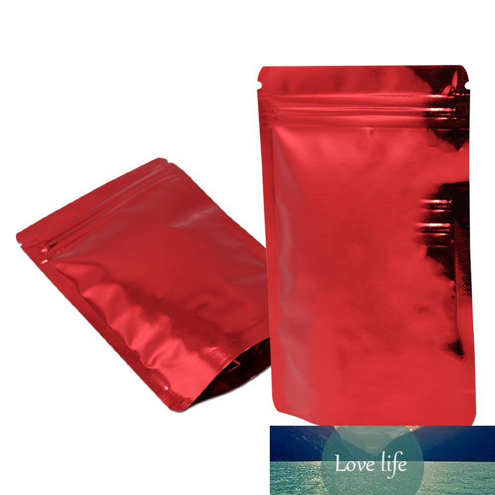100pcs 빨간색 스탠드 업 광택 알루미늄 호 일 지퍼 잠금 자체 인감 포장 가방 방수 콩 곡물 패키지 가방