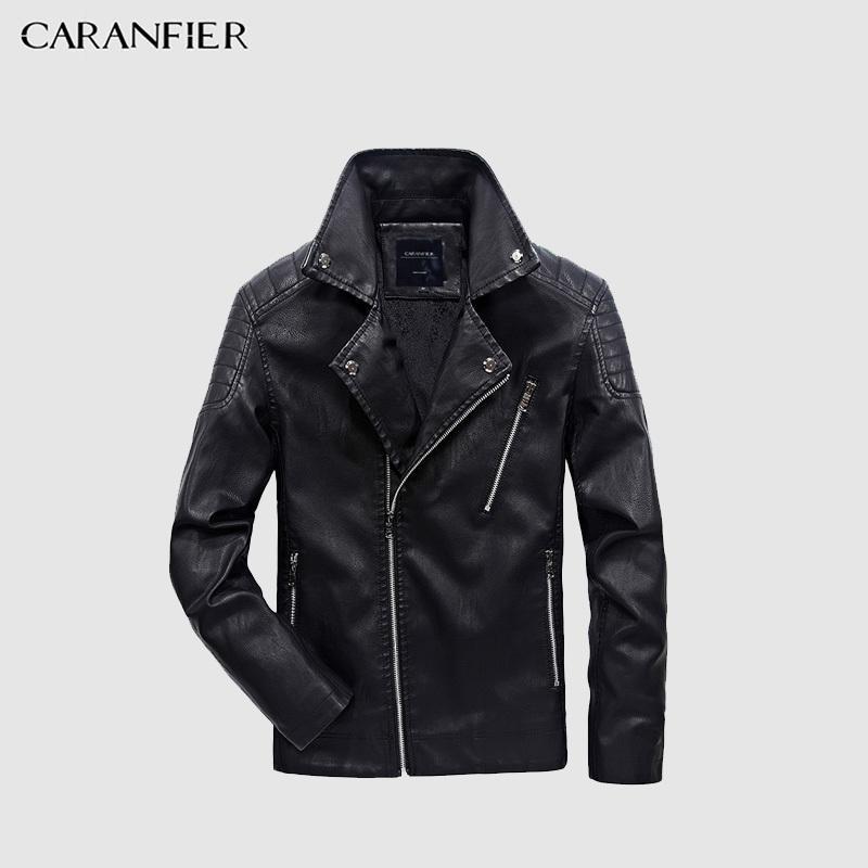 Caranfier мужские кожаные куртки осень зимнее пальто мужчины искусственные пальто байкер мотоцикл мужской классический куртка высочайшее качество плюс размер m-5xl 201026