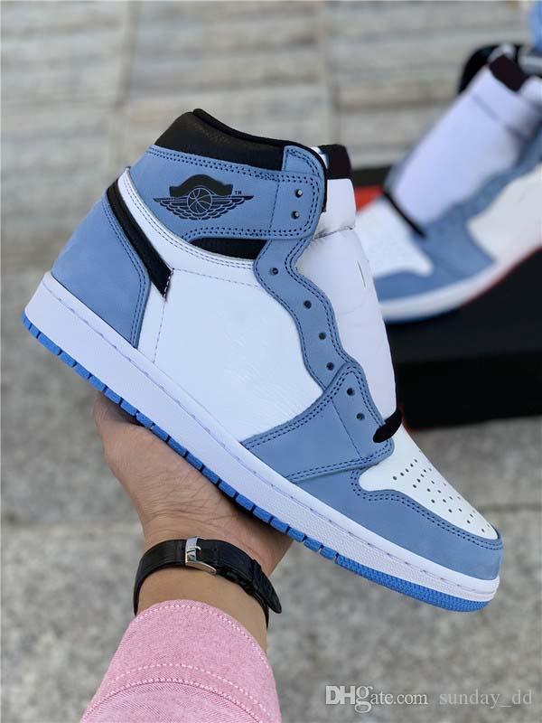 Nuevo Aire Auténtico 1 High OG University Blue Zapatos al aire libre Hombres blancos Midnight Blue Black Retro Sneakers Runner Sports con caja 40-47.5